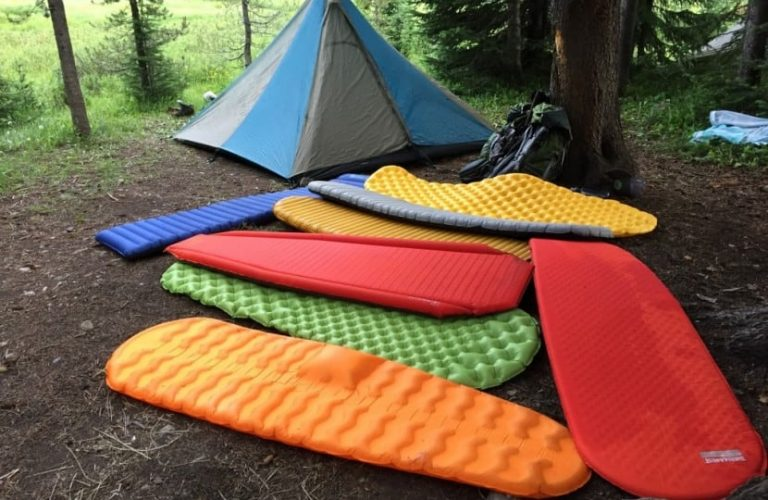 Sleeping pads laid on the ground