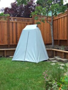 shower tent in garden