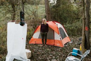 Shower tent area